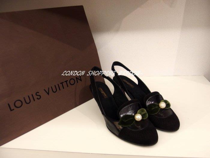 優雅ㄉLV 珍珠裝飾 低跟鞋(SIZE:37.5) *倫敦櫥窗*