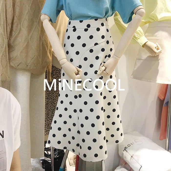 MiNE SHOP韓版高腰顯瘦大擺波點半身裙M9510-3 兩色  SML