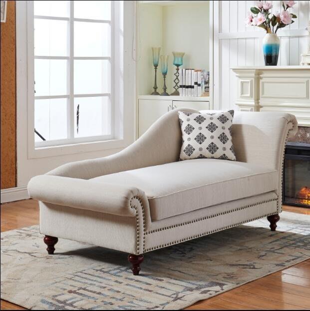 貴妃椅定制美式鄉村臥室客廳布藝簡約懶人沙發椅田園貴妃椅單人躺椅美人榻WY