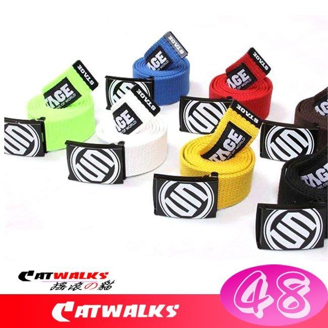 【 Catwalk's 搖滾の貓 】時尚潮流風彩色帆布腰帶 ( 黃色、白色、黑色、藍色、紅色、綠色、咖啡 )