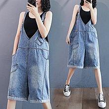 ♡ 右米衣飾 ♡ 日系 文藝 中大尺碼 寬鬆減齡V領牛仔吊帶褲
