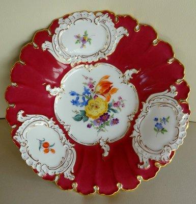 德國名瓷麥森Meissen 紅釉24K金邊  花卉畫盤 一級典藏品 歡迎提問詢價