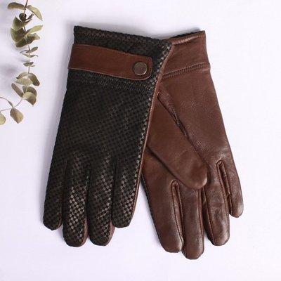 真皮手套羊皮手套-保暖拼接絨革布休閒男手套4款73wf13[獨家進口][米蘭精品]