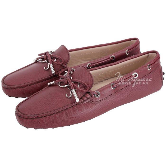 米蘭廣場 TOD'S Gommino 新版字母防刮牛皮休閒豆豆鞋(女鞋/紅梨色) 1840083-74
