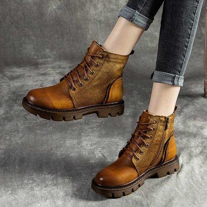 *菇涼家*019秋冬季厚底复古馬丁靴女真皮单靴子帥气機车靴英倫風牛皮短靴