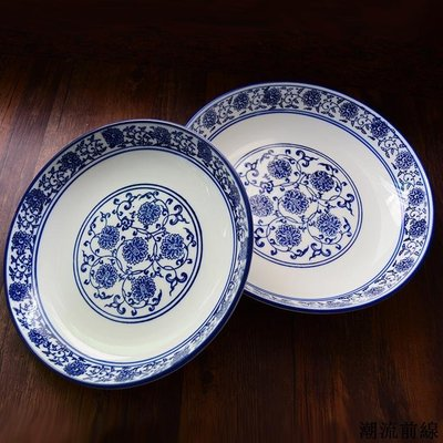 精選好物 創意日中式手繪青花釉下彩餐具陶瓷碟盤子家用餐盤圓飯菜湯點心盤