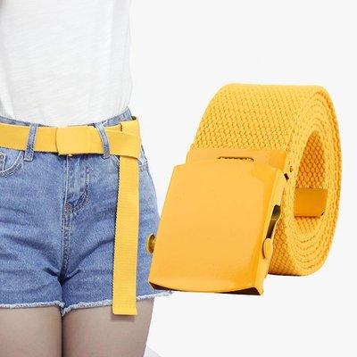 素色 編織 平滑釦 設計 牛仔褲 好搭配 腰繩 帆布 腰帶【NRZ169】