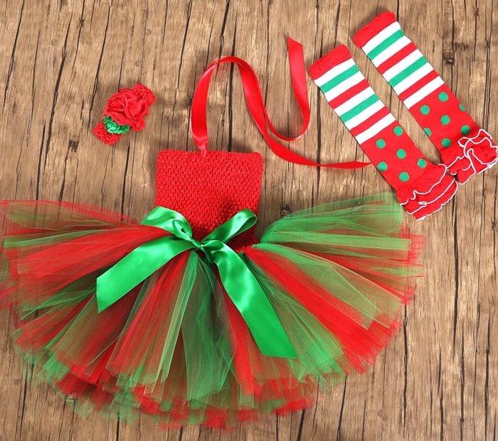 【小阿霏】兒童耶誕節小禮服服裝含髮飾 女孩tutu小洋裝 女童紗裙蓬蓬裙 中小大童聖誕節化妝舞會教會唱詩歌裝扮CL311