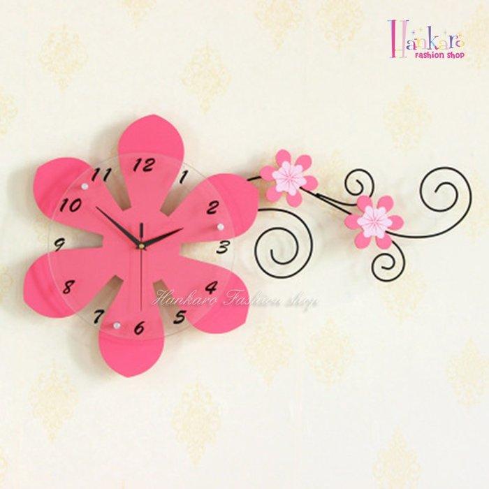 ☆[Hankaro]☆ 歐美流行創意鐵藝木質花朵造型時鐘