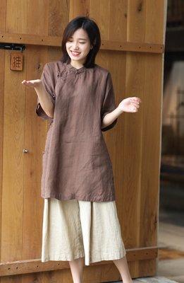夏季設計款立領斜襟民國風中長款麻衫(老銀屋)