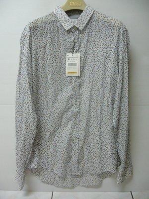 全新 ZARA MAN 清新藍咖系花紋 X 白底 薄款碎花印花襯衫 SLIM FIT 窄板襯衫(XL) uniqlo
