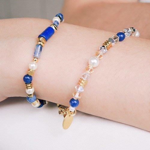 雙魚少女 12星座::blue - 天然石/2選1條/藍金砂石/蘇打石/水晶珍珠/日本珠/黃銅/手鍊手環禮物客製設計