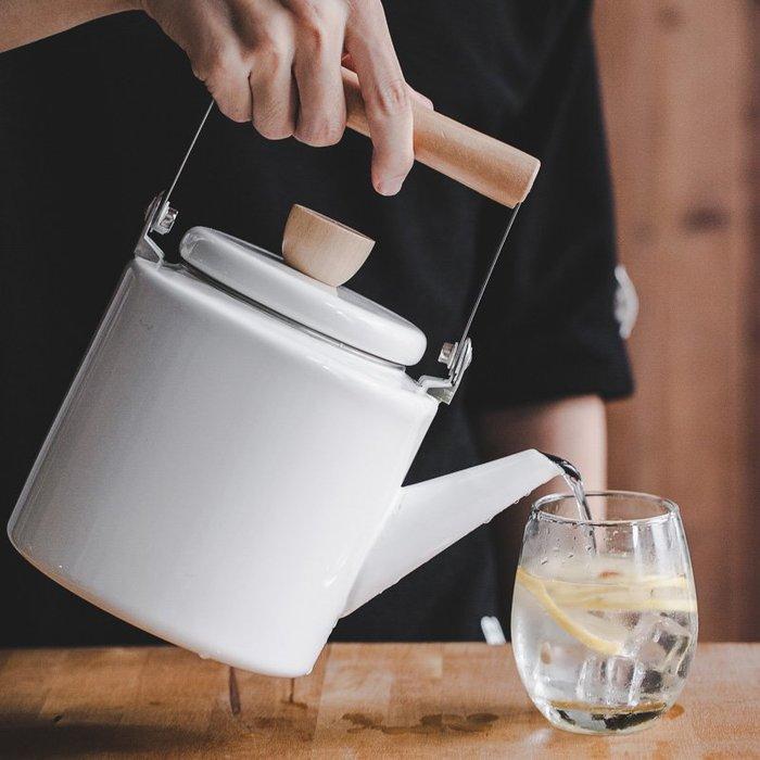 預售款-LKXD-日式搪瓷水壺家用大容量燒水壺煤氣直型水壺茶壺電磁爐