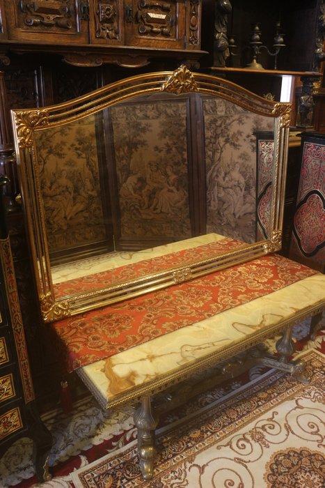 【家與收藏】特價稀有珍藏歐洲古董法國凡爾賽華麗帝國時期風格手工木雕花金箔玄關大桌鏡/掛鏡