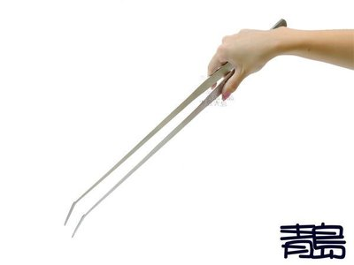 五0中3→Y 。。。青島水族。。。F-098(批發價供應)不銹鋼.不鏽鋼水草剪(剪刀)水草夾==拉絲霧面/彎夾48cm