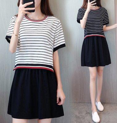 GOGO SHOP☆╭韓版新款 時尚條紋洋裝 拼接假兩件下擺連身裙【Y1444】XL~5XL另雪紡背心洋裝 大碼水水