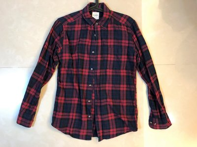 ︱Coopers︱Lativ Flannel 紅深藍格紋法蘭絨襯衫 Size: S (Uniqlo)