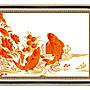 四方名畫:48X65CM富貴有魚101 九如圖 升級實木框  名家複製  質色彩細緻 裝飾畫MIT