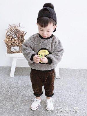 寶寶毛毛衣加絨加厚衛衣新款韓版休閒嬰幼兒保暖上衣男童冬裝AMYP