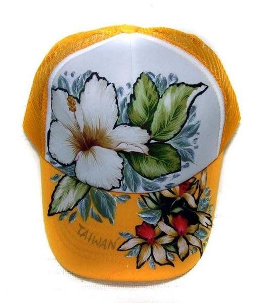 台灣花布網帽 (黃白黃)--- 拼貼+彩繪工法 時尚/個性/純手工製作工藝/ 原創設計