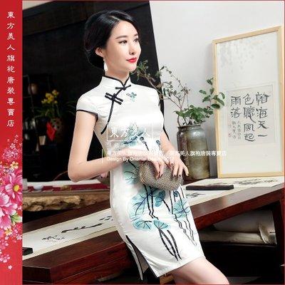 東方美人旗袍唐裝專賣店 ☆°(( 超低價699元 ))°☆ LGD76仿絲軟緞時尚印花半月包袖短旗袍