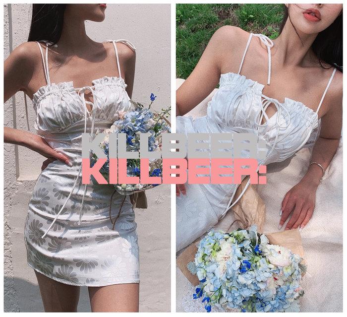 KillBeer:仙女是怎樣煉成的之 歐美復古性感裸白光澤緞面感緹花向日葵印花低胸綁帶連身裙洋裝A080214