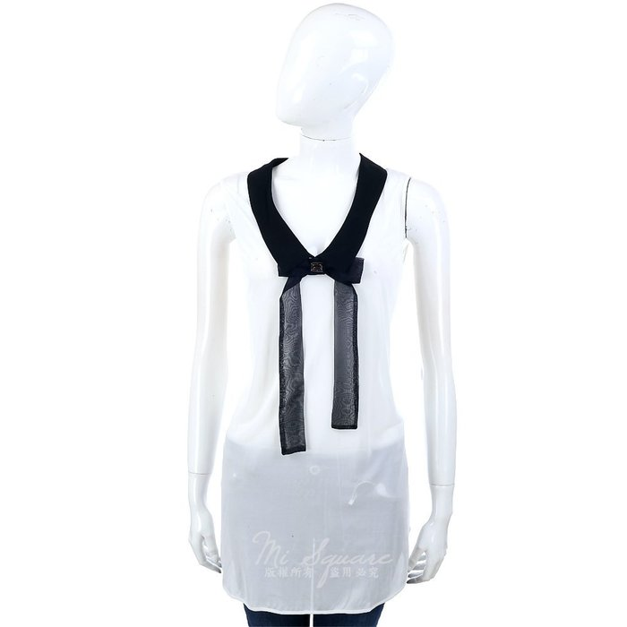 米蘭廣場 CLASS roberto cavalli 白色蝴蝶結飾領無袖上衣 1320148-20