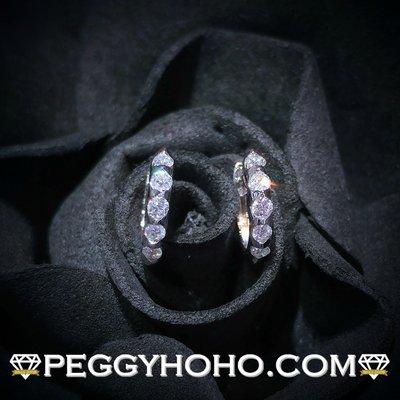 【Peggyhoho】全新18K白金22 份超閃真鑽石小圈耳環一對|型格小圈耳環|輕巧見石