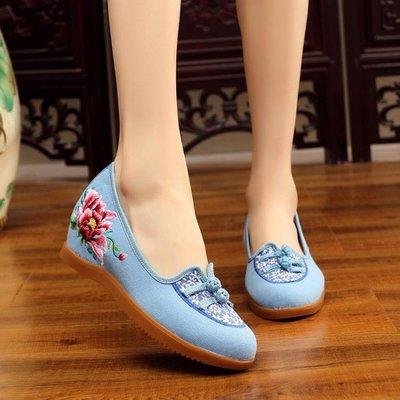 春秋復古中式繡花鞋老北京布鞋民族風內增高跟單鞋古裝漢服鞋女鞋