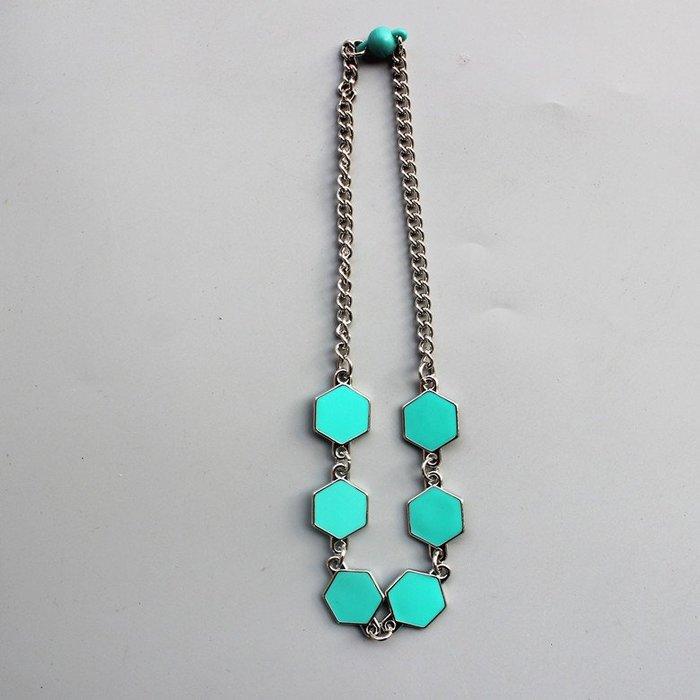 ☆現貨☆C86 藍色方型花朵造型項鍊  兒童項鍊 女童 配飾 項鍊