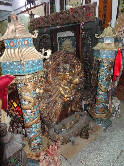 [御寶閣] 古董 文物 藝品 字畫 化石~景泰藍 蟠龍柱 一對 銅胎掐絲 景泰藍老件