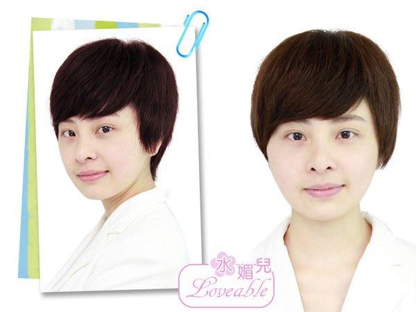 水媚兒假髮1L1HH♥新款女士真髮 透氣半手鉤 俐落專業形象 短髮♥ 100%真髮 預購