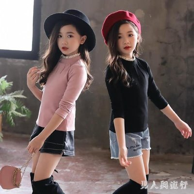 中大尺碼女童長袖T恤 打底衫新款韓版加厚高領長袖秋冬款洋氣上衣 DR2201