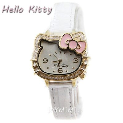 【JAYMIMI傑米】Hello Kitty手錶 小頭甜美華麗凱蒂貓皮帶腕錶 小孩大人最愛  LK620 免運費 白金