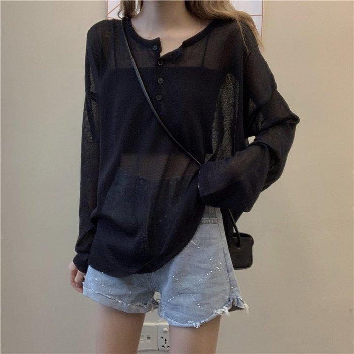 短袖針織衫 冰絲 韓版寬松透視防曬上衣慵懶風黑色套頭長袖 針織衫 女裝