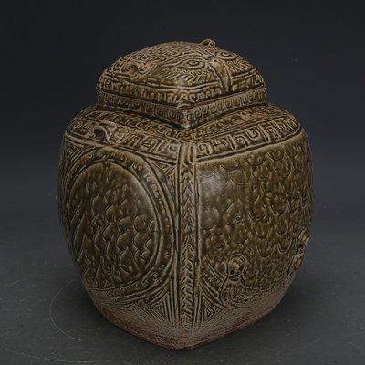 ㊣姥姥的寶藏㊣ 西周越窯青釉手工雕刻四方貓頭鷹罐  出土文物古瓷器古玩古董收藏