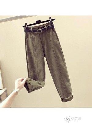 工裝褲秋裝新款高腰直筒軍綠色哈倫褲女寬鬆九分蘿卜褲工裝休閒褲子