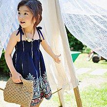 中大童 優質純棉 女童【Q寶童裝】夏款 ME-084 清新印花 連身裙 洋裝
