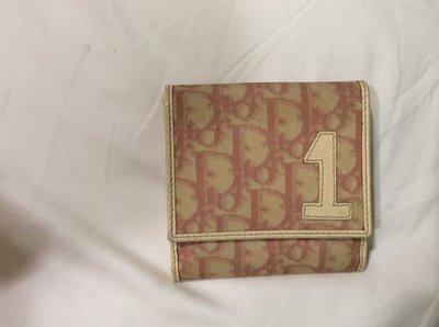 Dior 粉色真皮短夾
