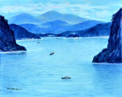 H57 謝孝德 日月潭風光 2013 30號 油畫 (桃園、客家、本土、台灣、師大、教授、當代、藝術)