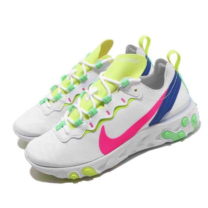 =CodE= NIKE W REACT ELEMENT 55 PRM 輕量慢跑鞋(白桃紅黃綠藍)CU3011-161 女