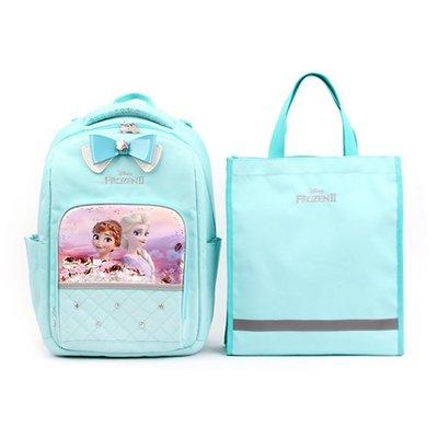♀高麗妹♀韓國 Disney FROZEN II 冰雪奇緣2 兒童雙肩護背.透氣書包/背包+提袋組(B款-藍)預購