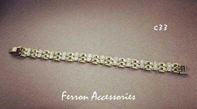 Ferron Accessories   C33 閃閃鋯石手鍊   訂製 Handmade 復古 歐美 黃銅