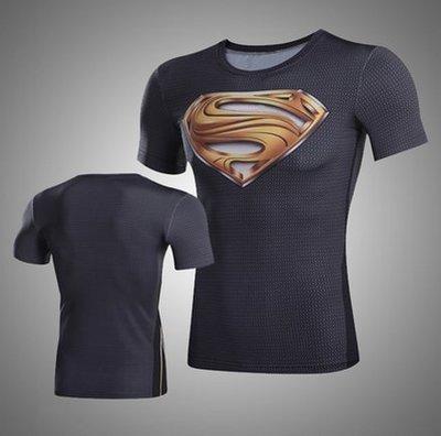 超人t恤緊身衣男壓縮衣美國隊長運動短袖彈力健身騎行速幹衣健身運動服