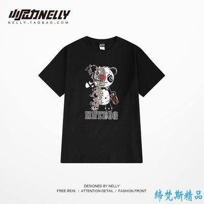 韓國潮牌短袖T恤男女原創夏季黑色純棉卡通歐美情侶情侶