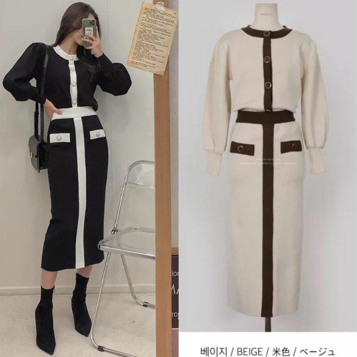 韓國冬裝新款 💕羊絨拼色針織外套+針織長裙 包臀裙sal6683t 兩件式