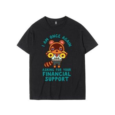 【暖暖的小屋】 動物之森友會貍貓貍克游戲周邊衣服夏季正韓寬松純棉短袖T恤衫男潮