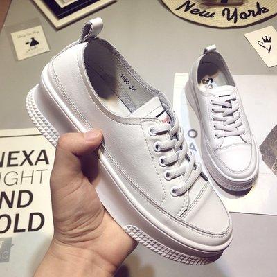 Fashion*秋季新款小白鞋 內增高厚底鞋 松糕百搭韓版真皮休閒鞋板鞋35-39碼