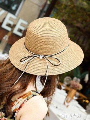 哆啦本鋪 夏帽子女韓版潮草帽簡約百搭遮陽防曬漁夫帽日系手工可折疊沙灘帽 D655