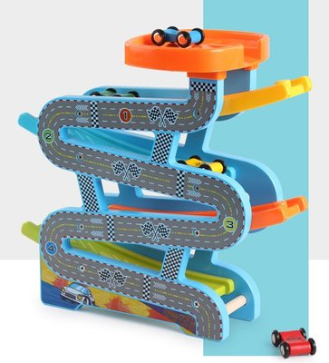 2-3-4-5-6歲兒童玩具 男孩女孩都愛滑翔車 木製滑行賽車 滑道軌道小汽車 益智玩具 -高速飛車 附贈4台小汽車
